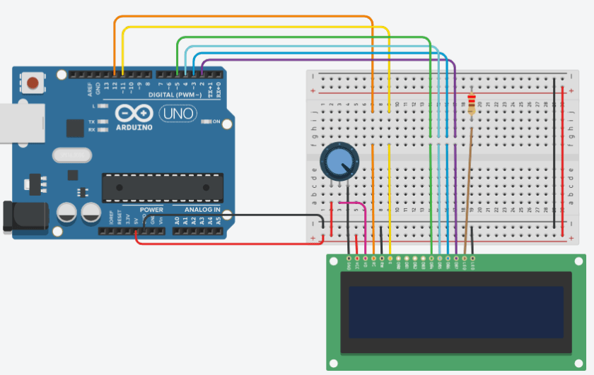 Scrolling text on LCD using Arduin Schematic Diagam