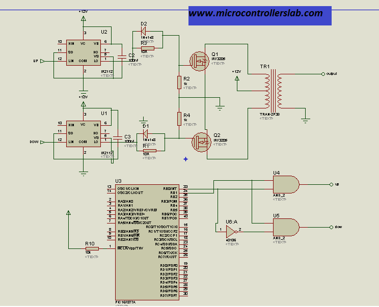 complete circuit diagram of modified sine wave inverter