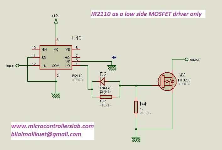 IR2110 as a low side MOSFET driver only