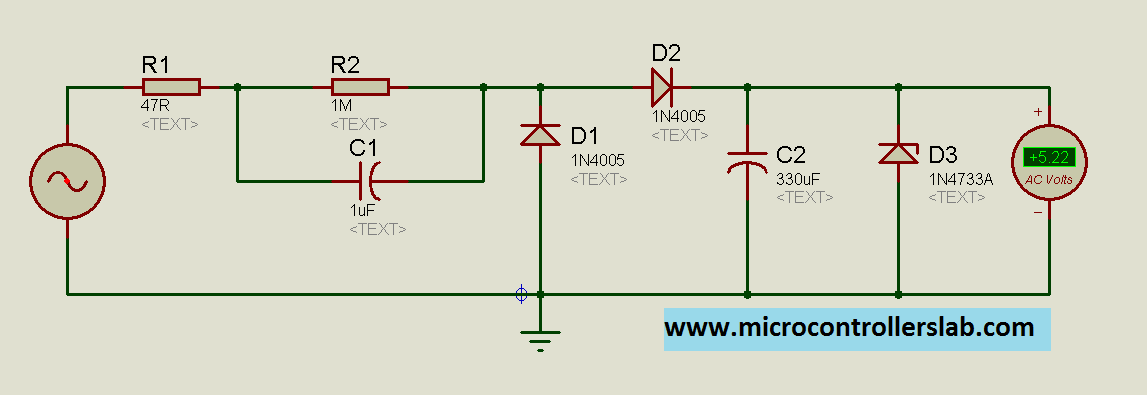 Transformer Less Power Supply Microcontrollers on transformer rectifier schematic