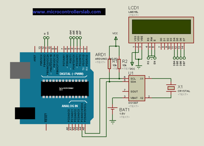 circuit diagram of DIgital clock using real time clock and Arduino
