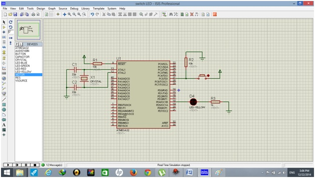 circuit diagram of push button use with atmega32 avr microcontroller