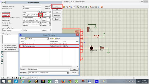 hexa file uploading for push button use with atmega32 avr microcontroller