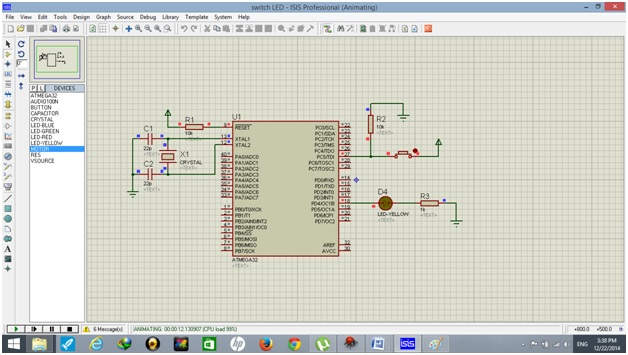 simulation result of push button use with atmega32 avr microcontroller