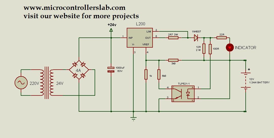 12 volt 1 3ah battery charger circuit diagram rh microcontrollerslab com 12 volt voltage regulator circuit diagram 12 volt dc voltage regulator circuit diagram