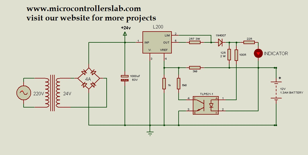 12 Volt 1 3ah Battery Charger Circuit Diagram