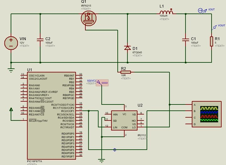 Buck Converter using Pic microcontroller with P channel MOSFET