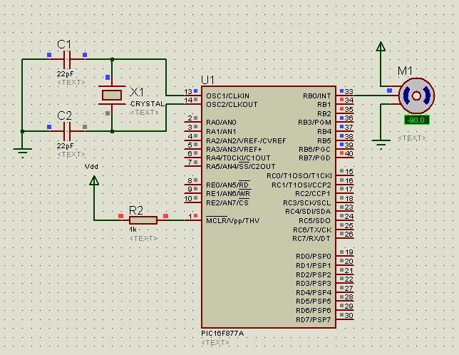 circuit diagram of  moto interfacing with pic microcontroller