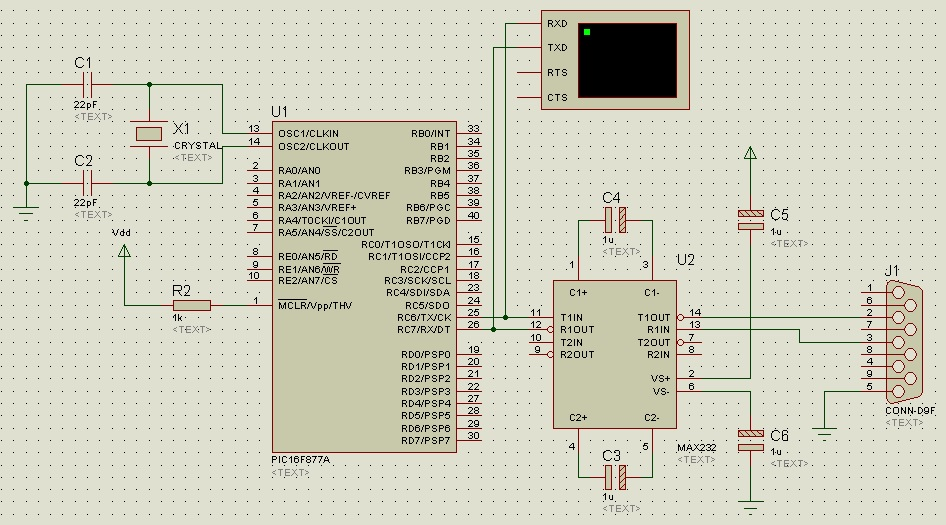 SERIAL COMMUNICATION USING PIC16F877A MICROCONTROLLER