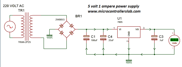 5 volt power supply using 7805