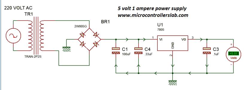 5 volt power supply using 7805