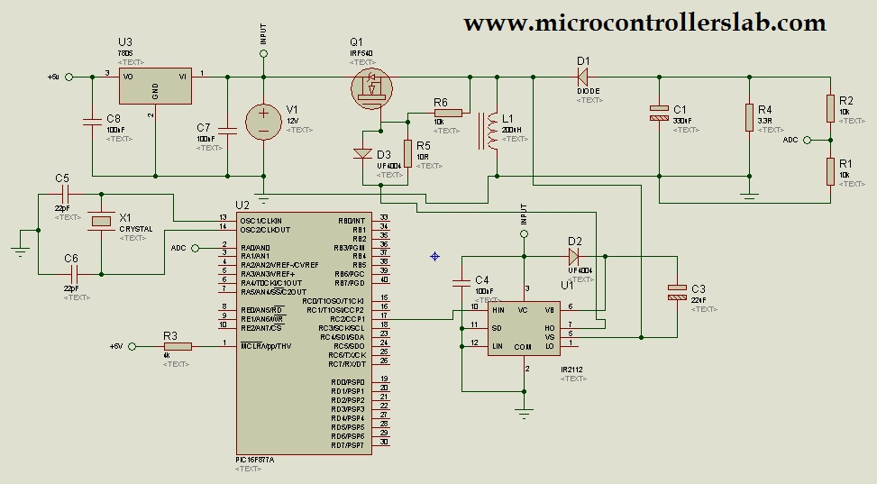 Buck Boost converter with pic microcontroller and ir2110