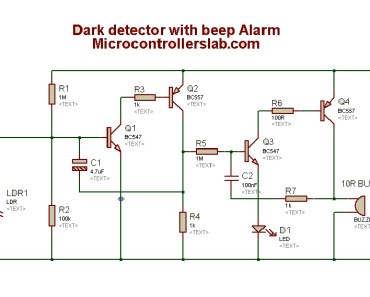 Dark detection circuit diagram with Alarm
