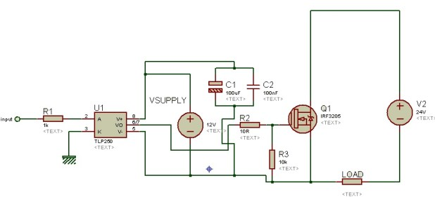 isolated MOSFET driver TLP250 as a high side mosfet driver