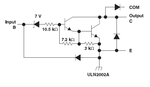 schamtic of darlington pair of transistor in uln2003