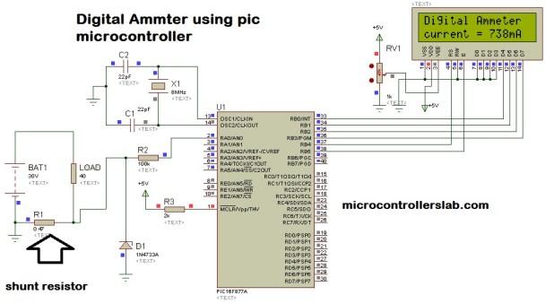 Digital Ammeter using pic microcontroller