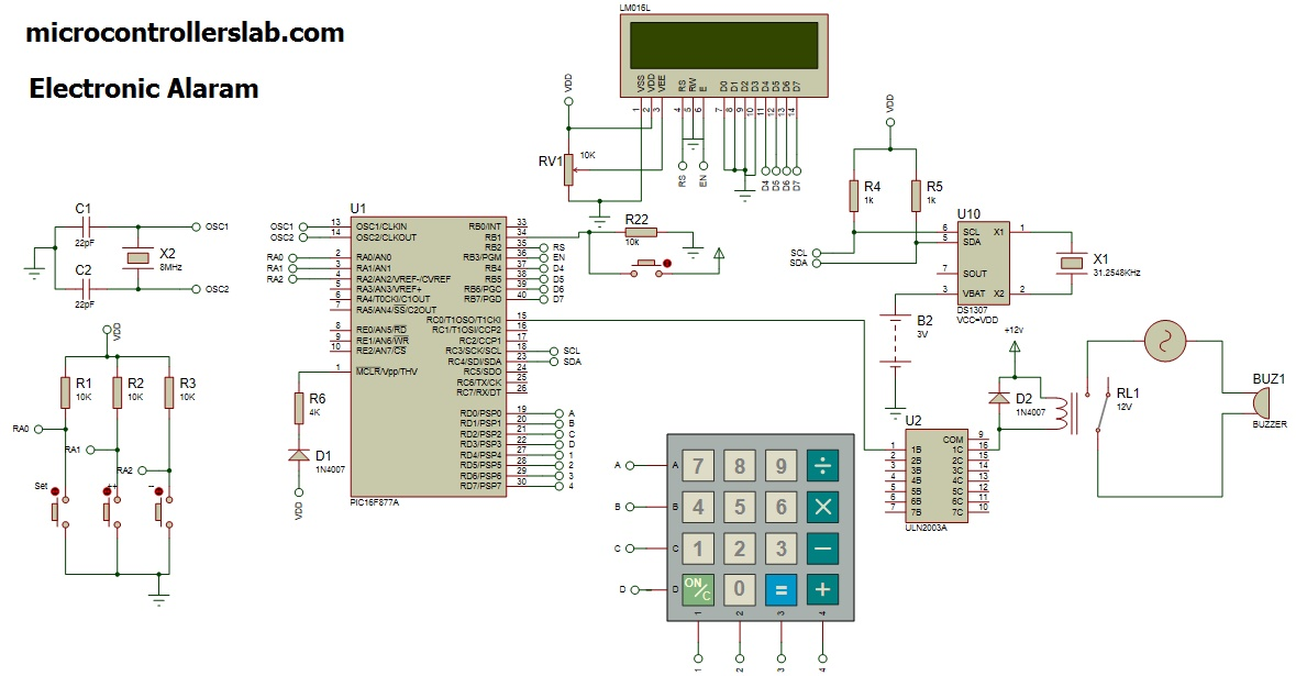 electronic timer circuit diagram automatic electronic bell for school using pic microcontroller