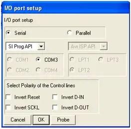 Input output port setup in PonyProg
