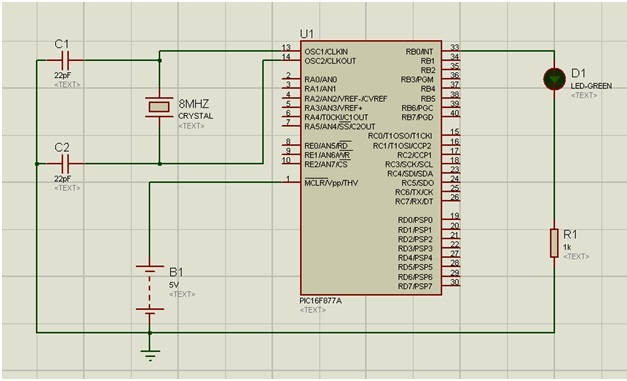circuit diagram for flashing led with pic16f877a