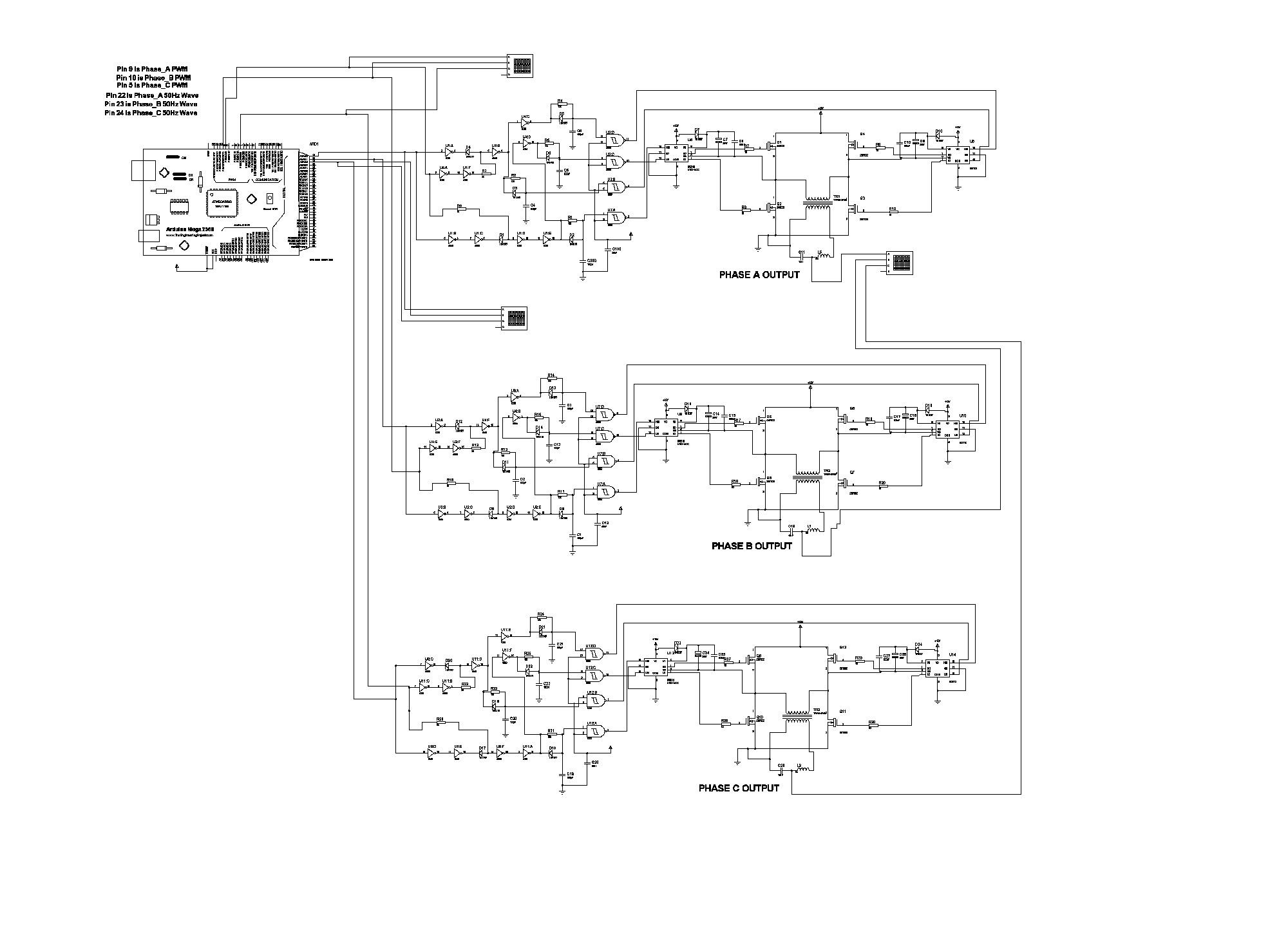 Three phase sine wave inverter circuit using Arduino