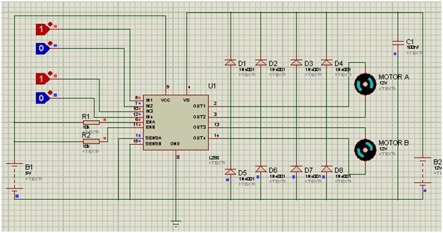Circuit diagram of L298N motor driver