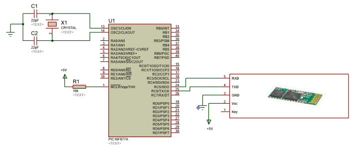 Bluetooth module HC 05 interfacing with pic16f877a microcontroller