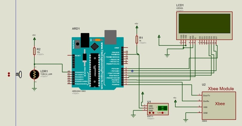 Remote Monitoring System with Labview and XBee circuit diagram