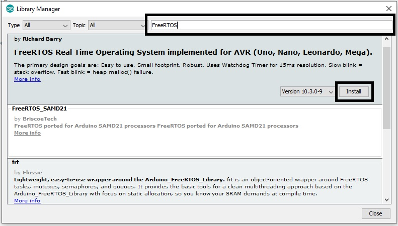 install FreeRTOS library in Arduino IDE 2nd step
