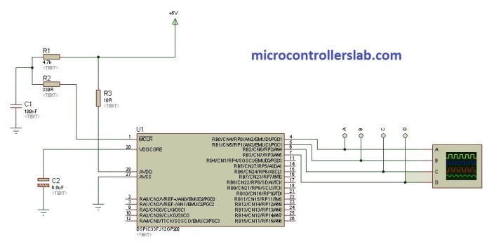 sinusoidal pulse width modulation using DsPic33FJ microcontroller
