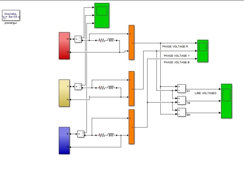 Three Phase Five Level Inverter simulink circuit