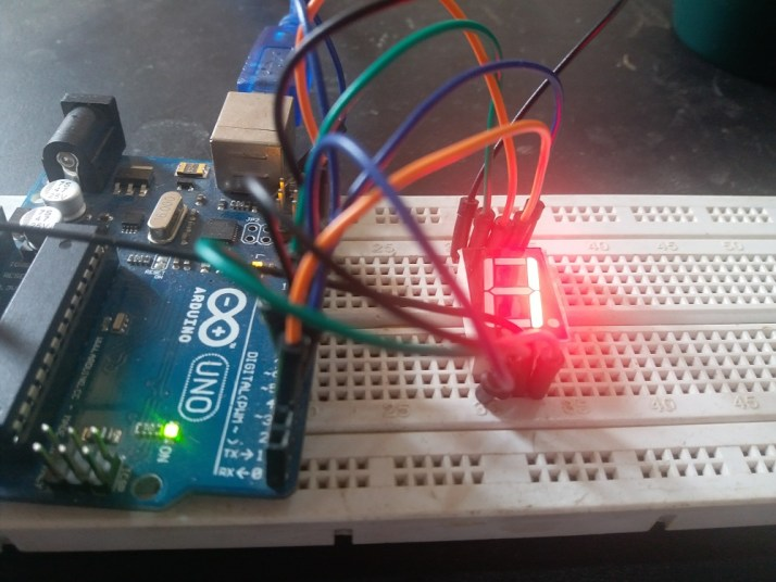 Seven segment display interfacing with Arduino uno