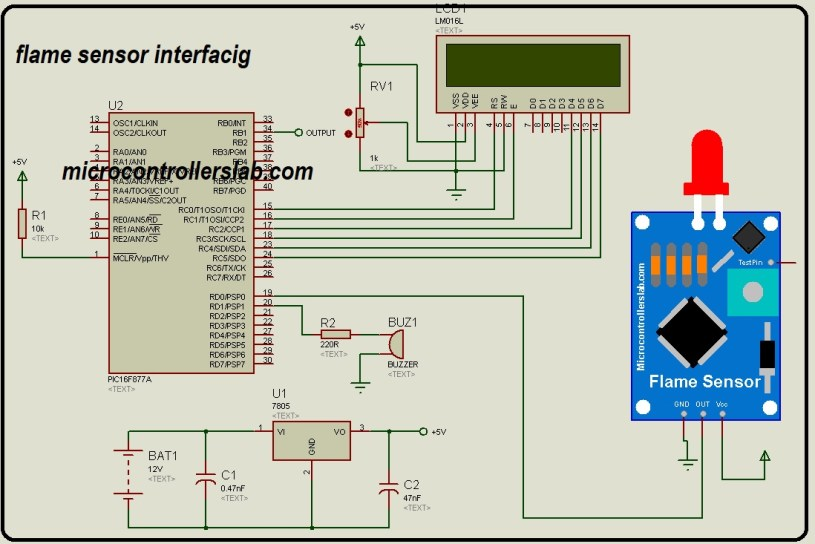 flame sensor interfacing with pic microcontroller