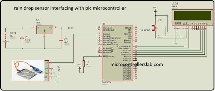 rain detection circuit using pic microcontroller