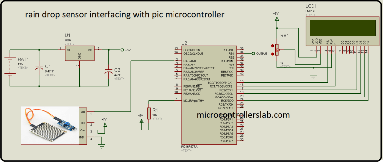 rain detection circuit using pic microcontroller