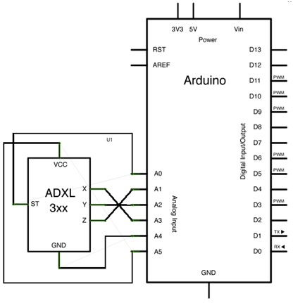 ADXL 335 Accelerometer introduction working and interfacing Accelerometer Circuit Diagram on vibration diagram, hydrometer diagram, gprs diagram, speaker diagram, switch diagram,