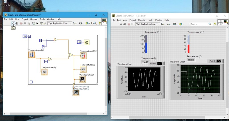 final graphs and charts output in labview