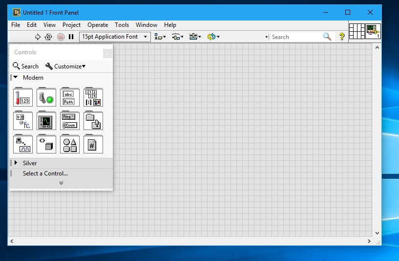 Front panel in labview
