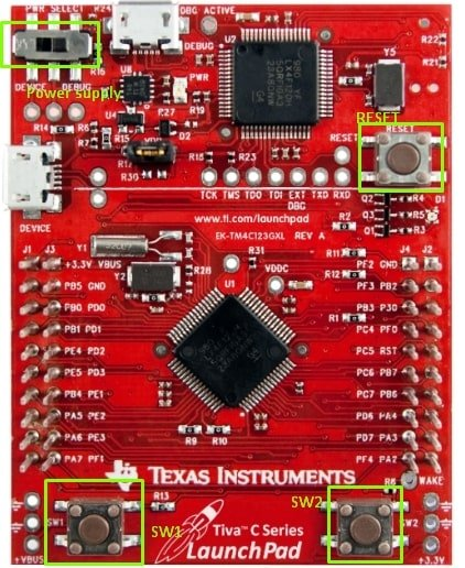 TM4C123G LaunchPad onboard push buttons