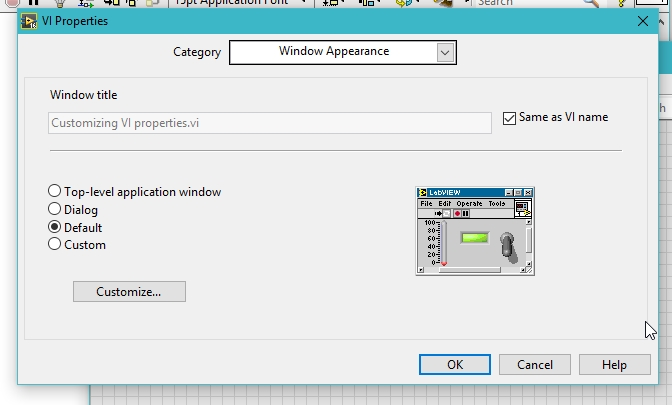 Customizing VI properties  of Labview
