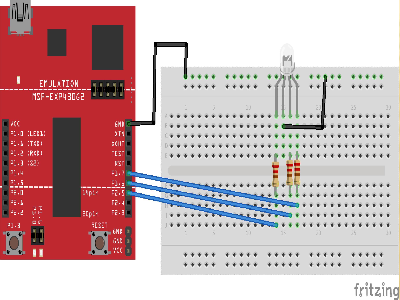 RGB LED interfacing with MSP430G2 LaunchPad
