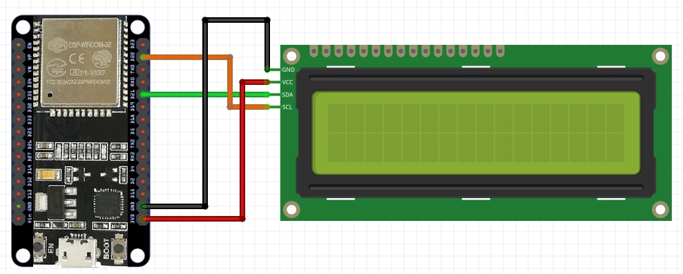 I2C LCD interfacing with ESP3 wiring diagram