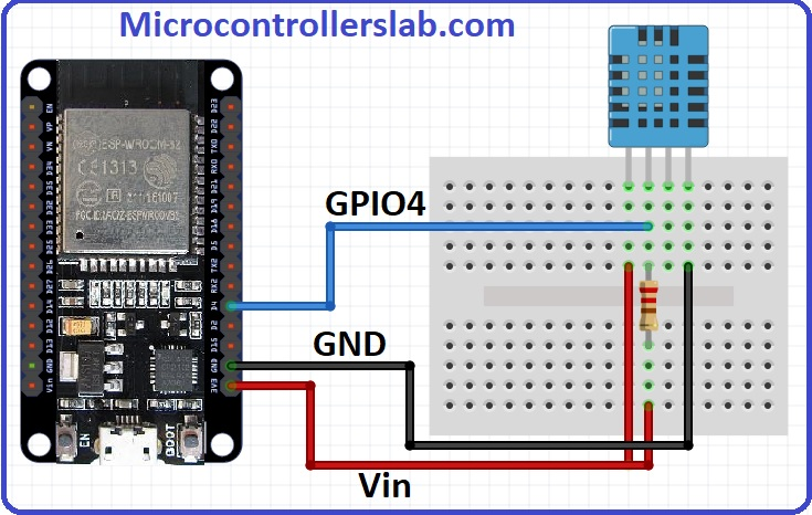 Wiring diagram of DHT11 interfacing with ESP32