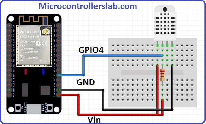Wiring diagram of DHT22 interfacing with ESP32