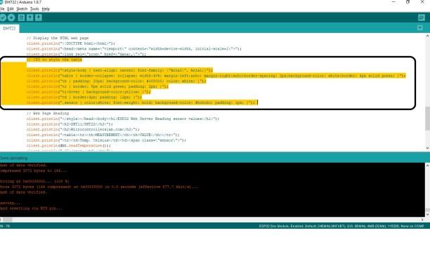 web page CSS additon ESP32 web server sensor values