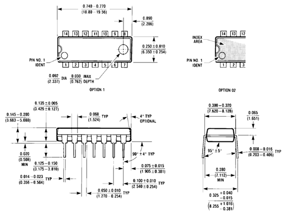 74LS02 dimensions diagram