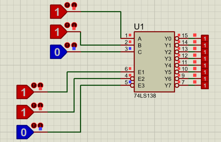 74LS138 proteus example 2