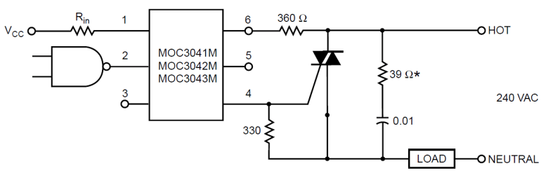 MOC3041 interfacing Circuit Requirement