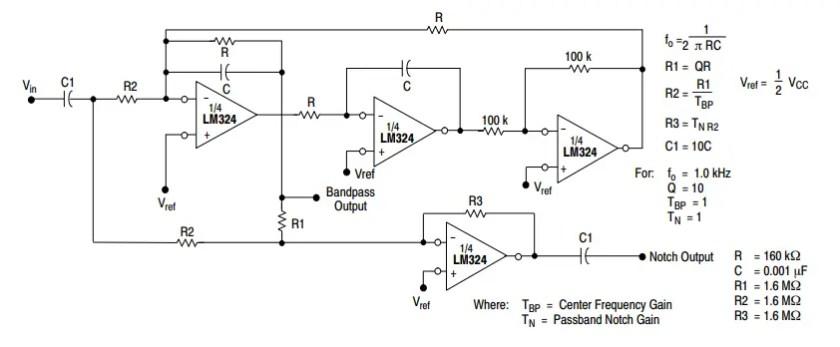 lM324 Bi-Quad Filter example