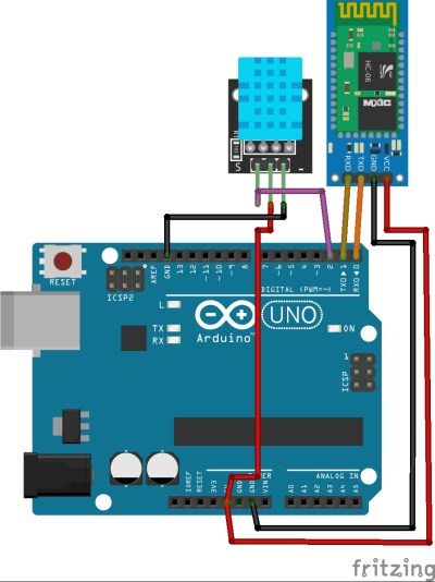 HC-06 Bluetooth Module with arduino UNO and DHT11
