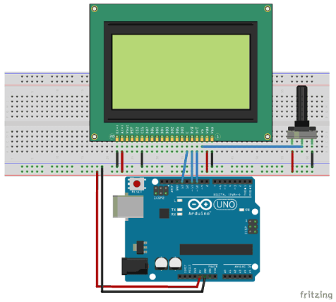 ST7290 Graphical GLCD Module interfacing with Arduino